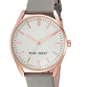 Nine West Rose Goldtone and Grey Strap Watch